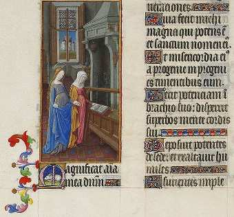 Folio 59 verso. La Visitación. (c) Wikipedia Commons